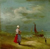 holländerin am strand bei rückkehr der fischerboote by friedrich wilhelm fabarius