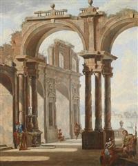 architekturcapriccio mit figuren (+ another, similar; 2 works) by giovan gioseffo santi