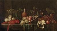 großes früchtestillleben mit einem gekochten hummer, einem gefüllten römer und einem steinzeugkrug by jan pauwel gillemans the elder