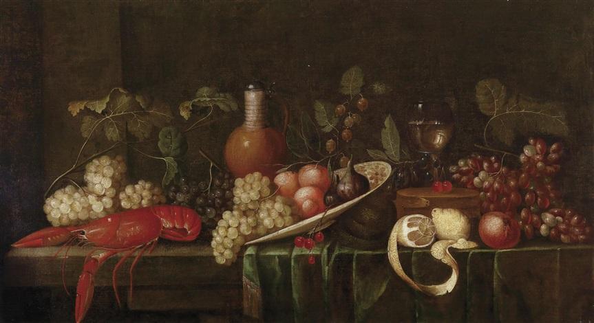großes früchtestillleben mit einem gekochten hummer einem gefüllten römer und einem steinzeugkrug by jan pauwel gillemans the elder