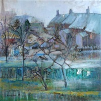 back gardens, evening by lucette de la fougere