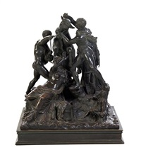 a continental bronze figural group depicting the farnese bull by antique