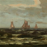 marine with sailing boats along the coast of sylt by karl koppel