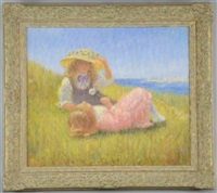 two girls with dandelion clock overlooking the sea by rene legrand