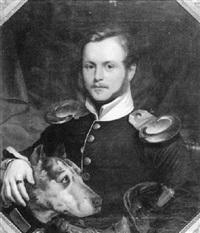 bildnis karl von peternel in der uniform des garde du corps mit seinem hund by joseph weber