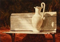 still life with bench and jug by ken davies