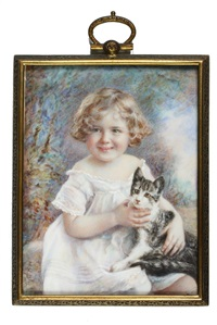 portrait of young girl with cat by morton h. bly