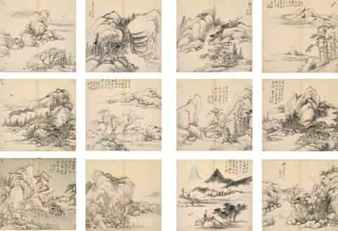 landscape after ancient mastersalbum w12 works by zhang zongcang