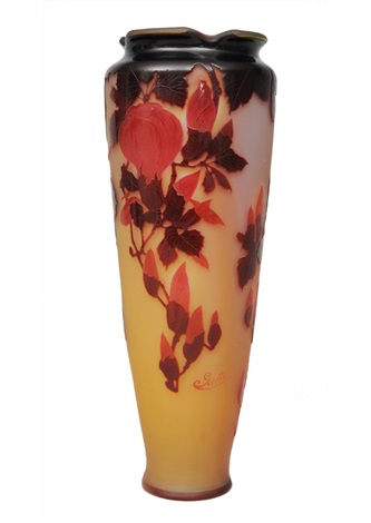 a big cameo vase with magnolia by émile gallé