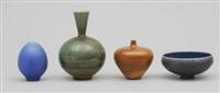 vaser, tre stycken samt skål (4 works) by berndt friberg