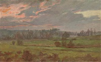 an extensive landscape at sunset by charles-jean agard