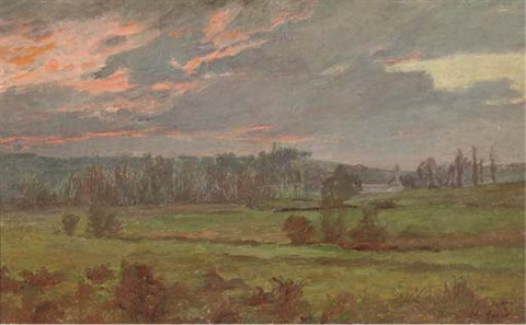 an extensive landscape at sunset by charles jean agard