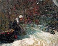 femme au bord de la rivière by victor charreton