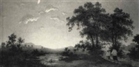 priester und ministrant unterwegs unter leuchtendem abendhimmel by paul rudolf linke