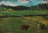 landscape with cow by alfred simonsen