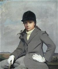 portrait of the brigadier's young daughter, a friend of the family, in riding jacket, and with her plaits in ribbons by alice mary burton
