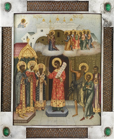 the protecting veil of the mother of god pokrov in a silver basma