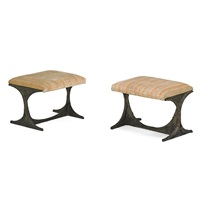 sculptured metal benches (pe 112) (pair) by paul evans