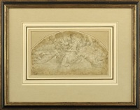 god the father in the clouds with angels by giorgio vasari