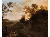 hügelige landschaft mit jagdszene by frederick de moucheron