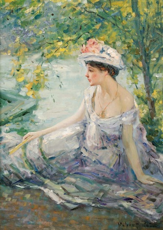 summer reverieyoung woman at ease on a riverbank by robert reid