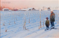 cornfield in snow by gary ernest smith