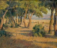 paisaje arbolado con campesinos by marceliano santa maría