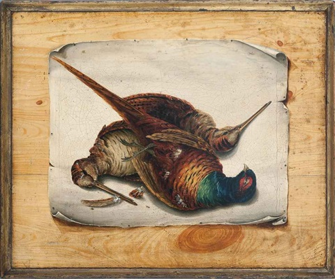 trompe l'oeil still life of pheasant and woodcock; trompe l'oeil still life of grapes, strawberries, pineapple and flowers (pair) by continental school (19)