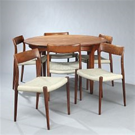 Circular Dining Table And Chairs (9 Works) By Niels O. Moller And Henning