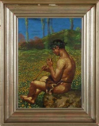musizierender bacchant vor sommerwiese by hans thoma