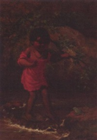indian girl crossing a stream by alice gray coutts
