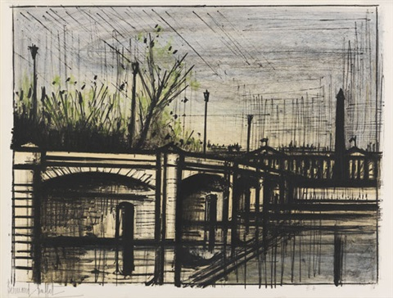 le pont de la concorde, pl.9 (from album paris) by bernard buffet
