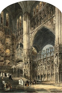 rouen cathedral, north entrance (+ chapel of the high altar, toledo cathedral; pair) by joseph josiah dodd