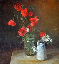 poppies in a jam jar by pamela kay