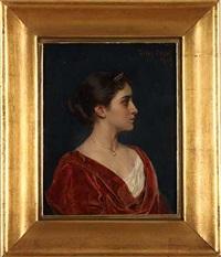 portrait einer jungen frau mit diadem by feodor encke