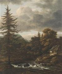 bewaldete landschaft mit einem bach, bauernhaus und hirtenstaffage by johann jakob dorner the elder