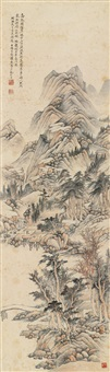 楼阁山水图 (landscape) by luo yizhai
