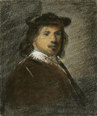 figure grouped around on bed (after rembrandt)(+ portrait of rembrandt; 2 works) by alfred jacob miller