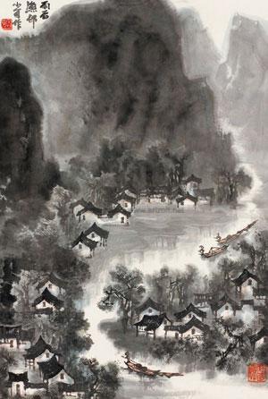 雨后渔邨 landscape by li xiaoke
