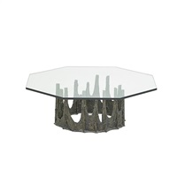 sculptured metal coffee table (pe 128) by paul evans