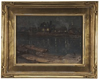 evening reflections in a harbor by charles morris young