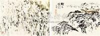 松屋图 焦墨 (2 works) by liang tianzhu