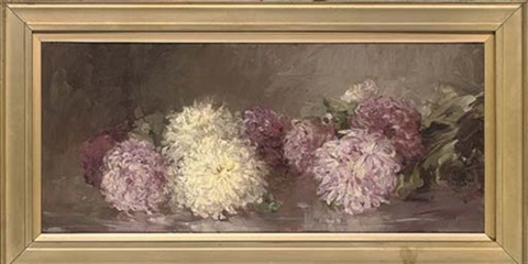 pink and yellow chrysanthemums by rosie j morison