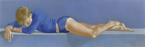 portrait of a reclining boy in blue by robert r bliss
