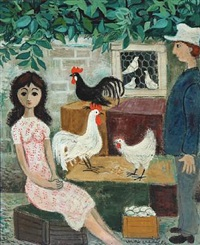 figure composition with chickens and pigeons in a cage by max müller