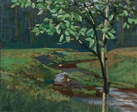 brook in summer by edmund wyly (sir) grier