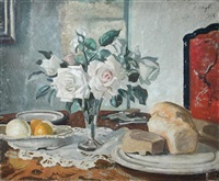 still life of pink roses, lemons and a loaf of bread on a table by alan blyth