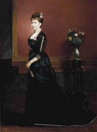 portrait of lady, full-length, in a black dress, standing in an interior by edouard ender