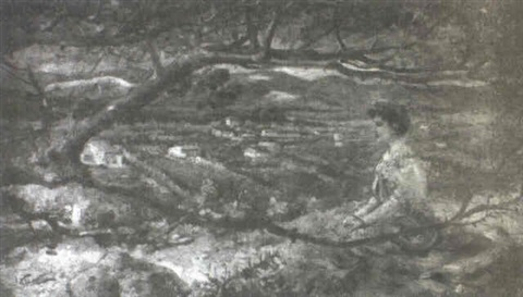 woman on hillside by henri rené gaume