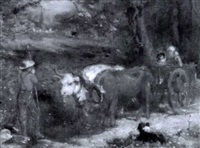 farmer with children in an oxen-drawn cart by seymour joseph guy